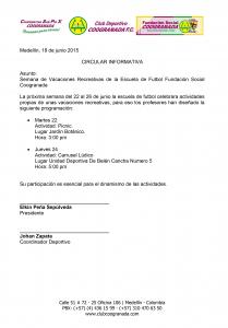 Circulares Semana Recreativa Escuela Medellin